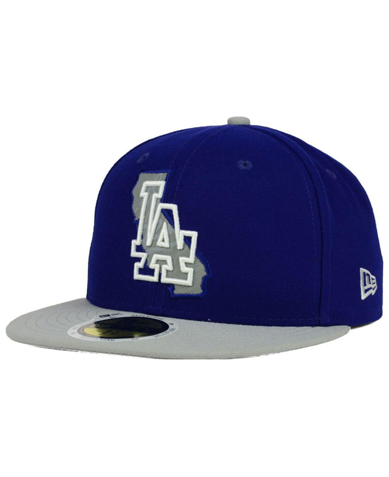 5705b9c0d KTZ Blue Los Angeles Dodgers State Reflective Redux 59fifty Cap for men