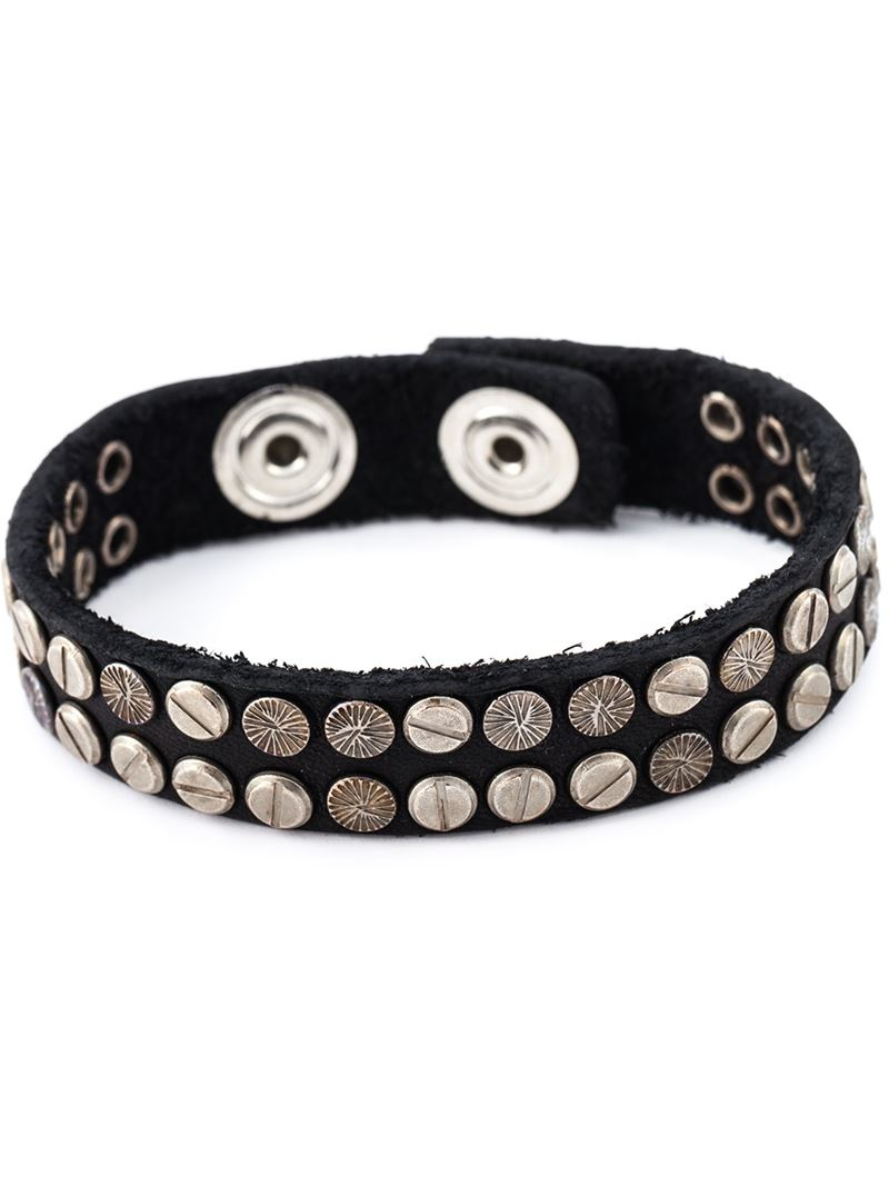 Diesel studded leather bracelet - Black 5tA7uXB
