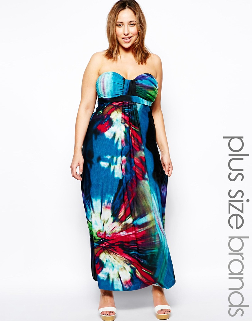 Plus Size Tropical Print Maxi Dress