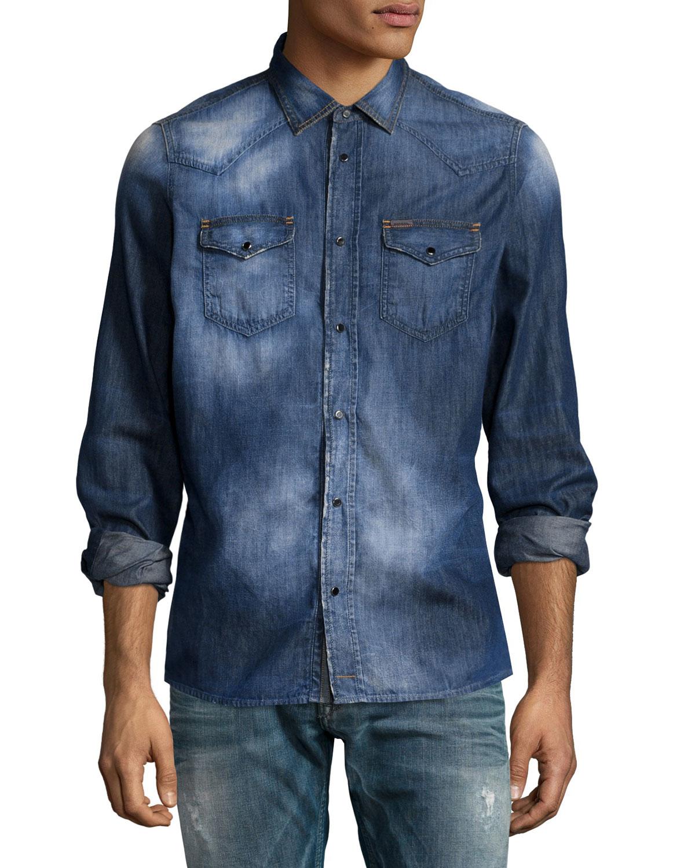 Diesel faded button down denim shirt in blue for men lyst for Denim button down shirts