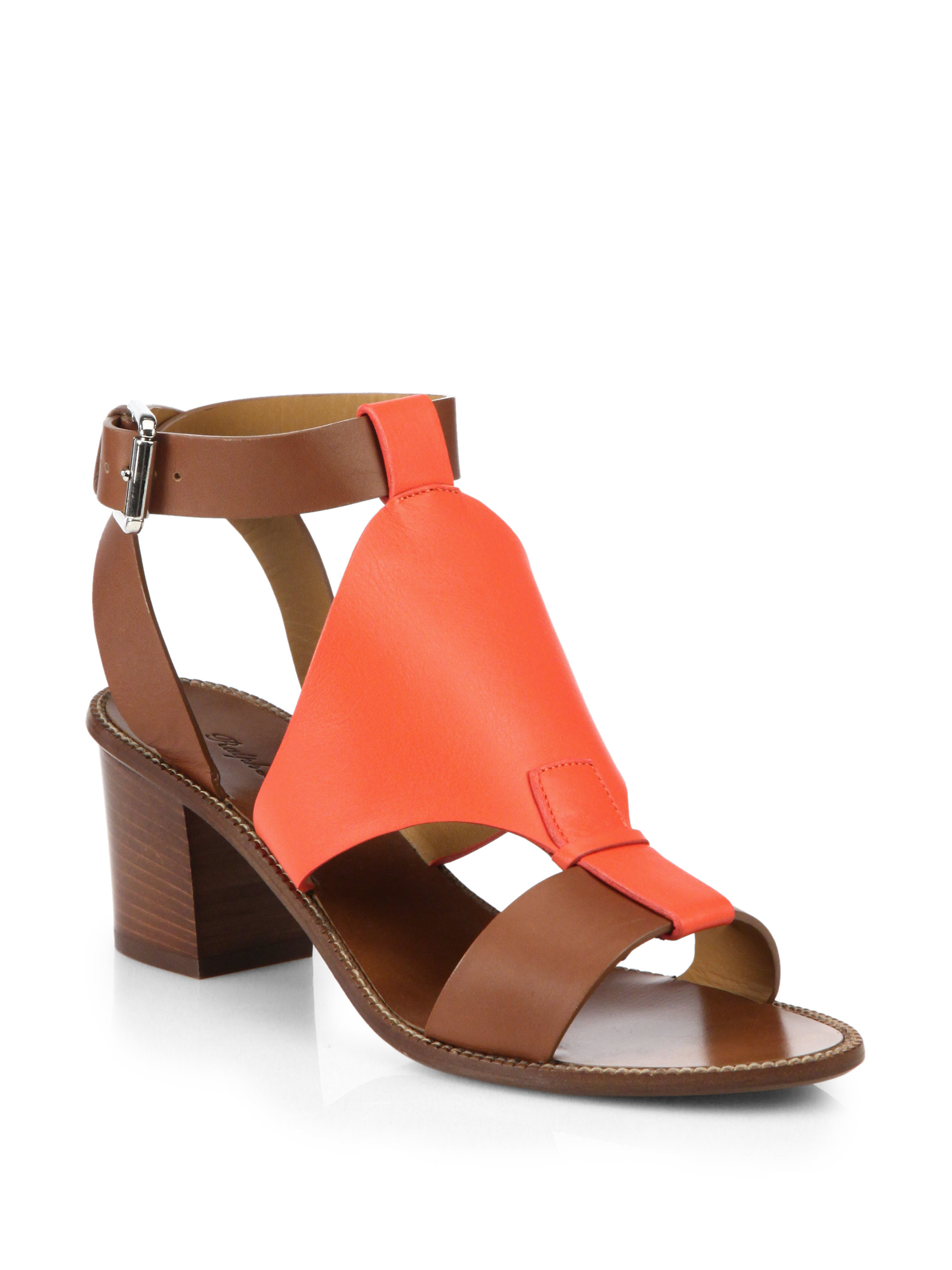 Pink Pony Paola Block Heel Leather Sandals In Orange Lyst