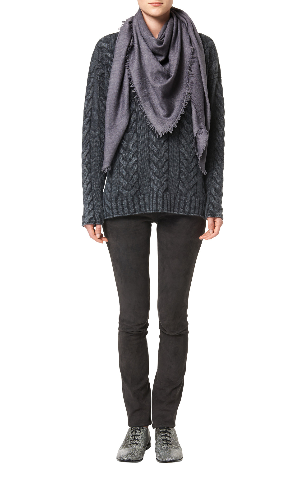 iris von arnim scarf herringbone in gray slate lyst. Black Bedroom Furniture Sets. Home Design Ideas