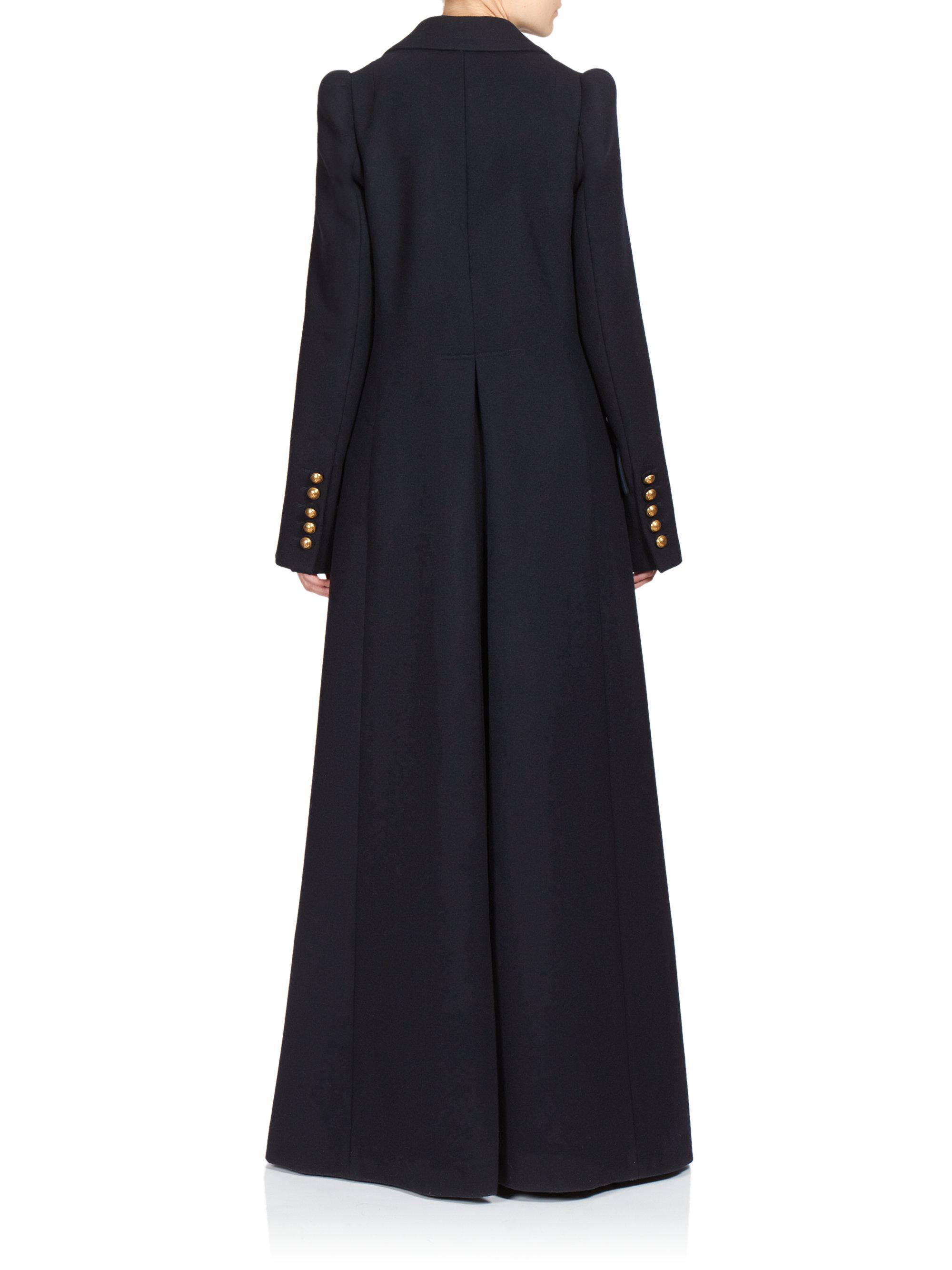 Chloé Wool Long Military Coat in Blue | Lyst
