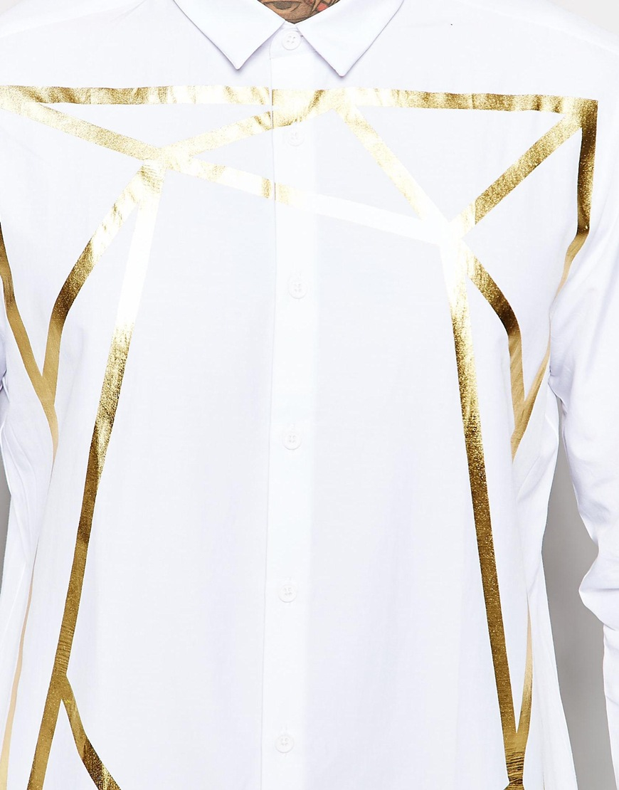 Lyst Asos White Shirt With Gold Foil Print And Long