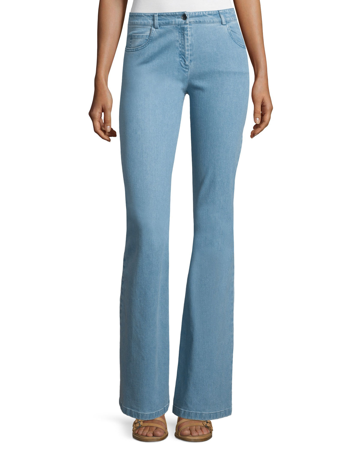 michael kors mid rise flare leg contour jeans in blue lyst. Black Bedroom Furniture Sets. Home Design Ideas