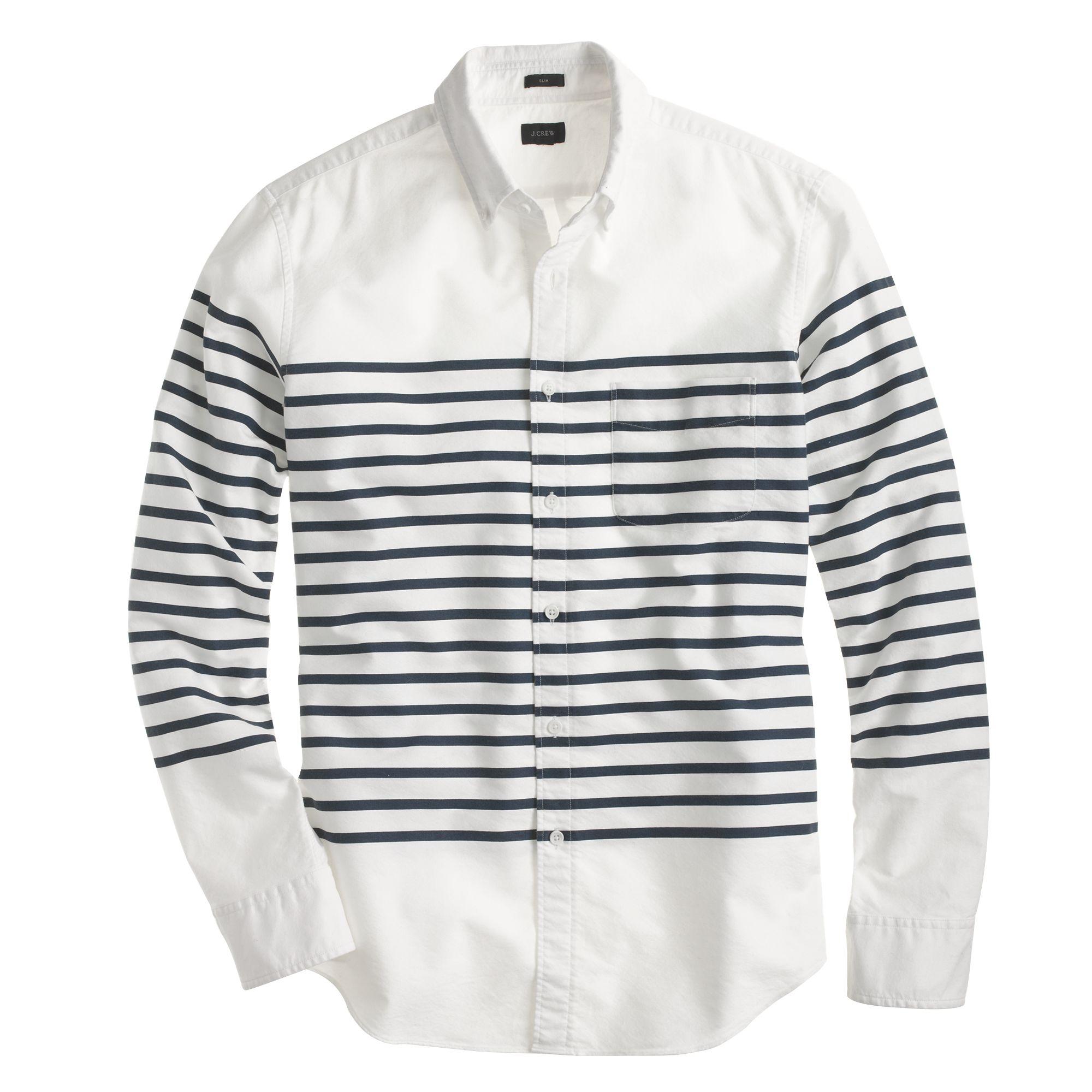 Slim vintage oxford in horizontal stripe in white for Horizontal striped dress shirts men