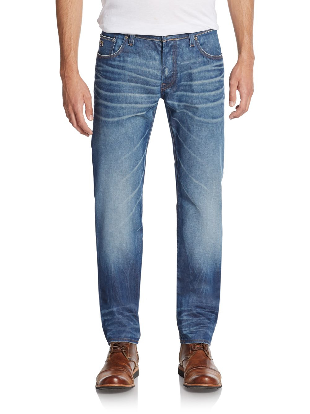 g star raw 3301 low tapered straight leg jeans in blue for. Black Bedroom Furniture Sets. Home Design Ideas