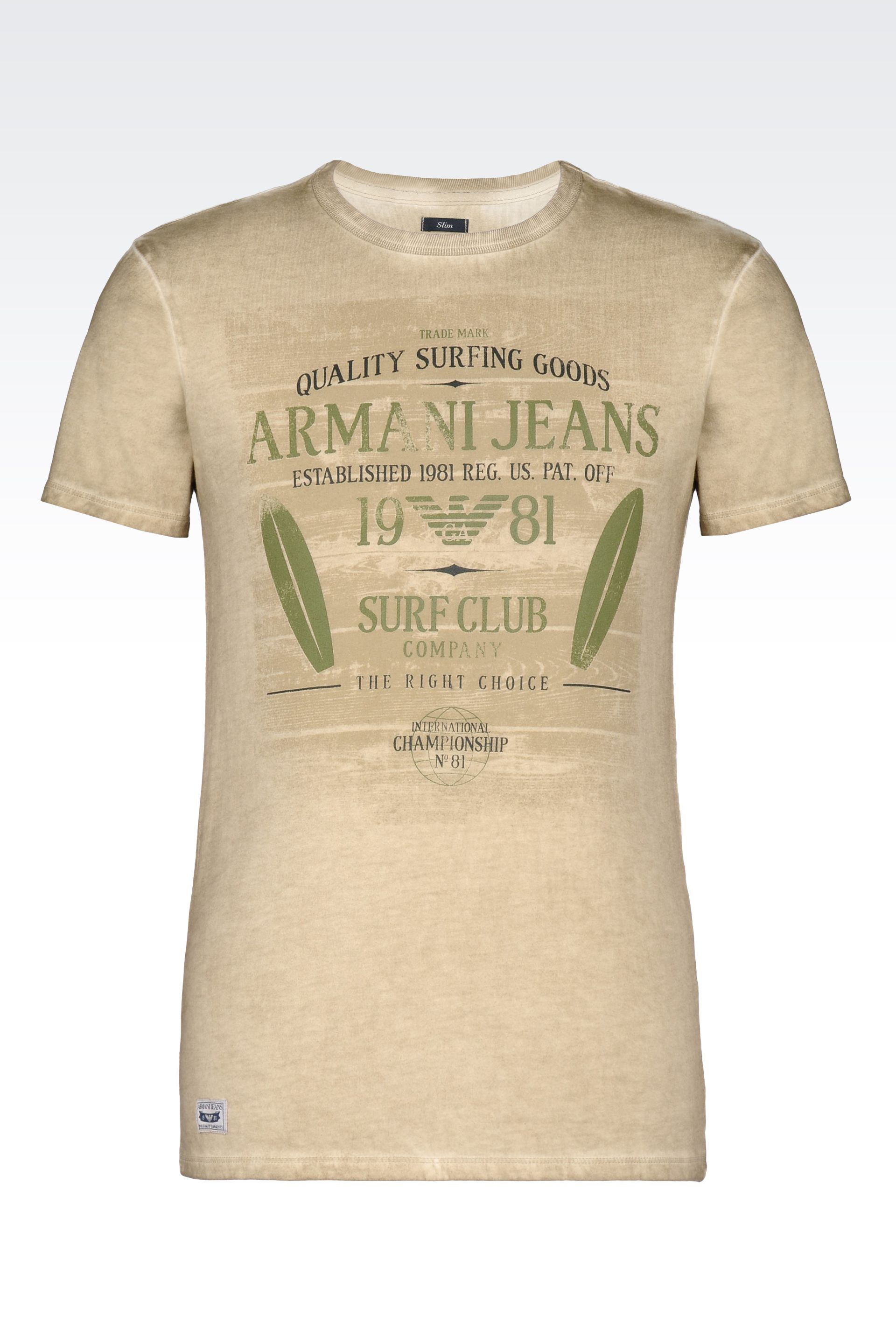 lyst armani jeans t shirt in cotton jersey in natural for men. Black Bedroom Furniture Sets. Home Design Ideas