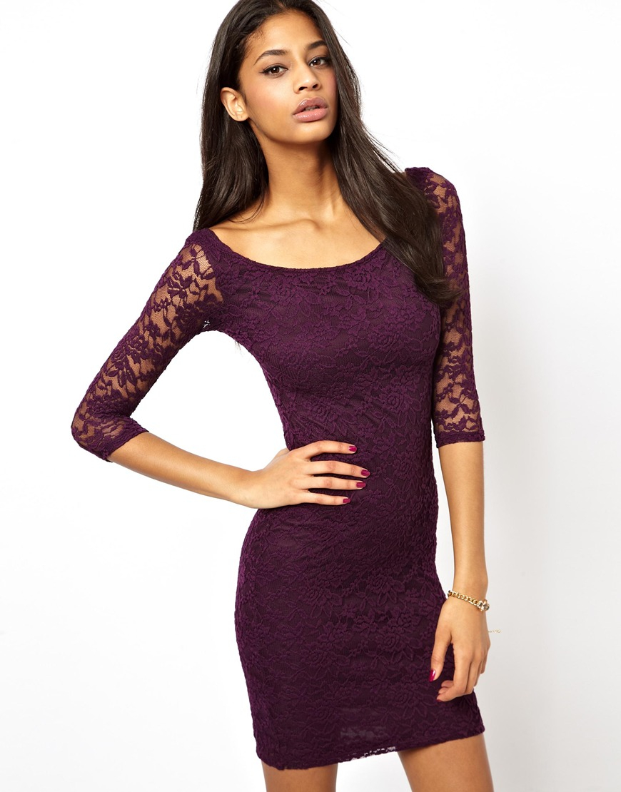 Cheap purple mini dress