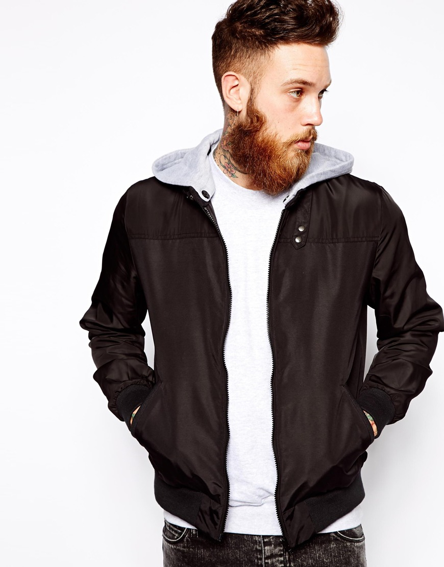 Asos Bomber Jacket with Jersey Hood in Black for Men | Lyst