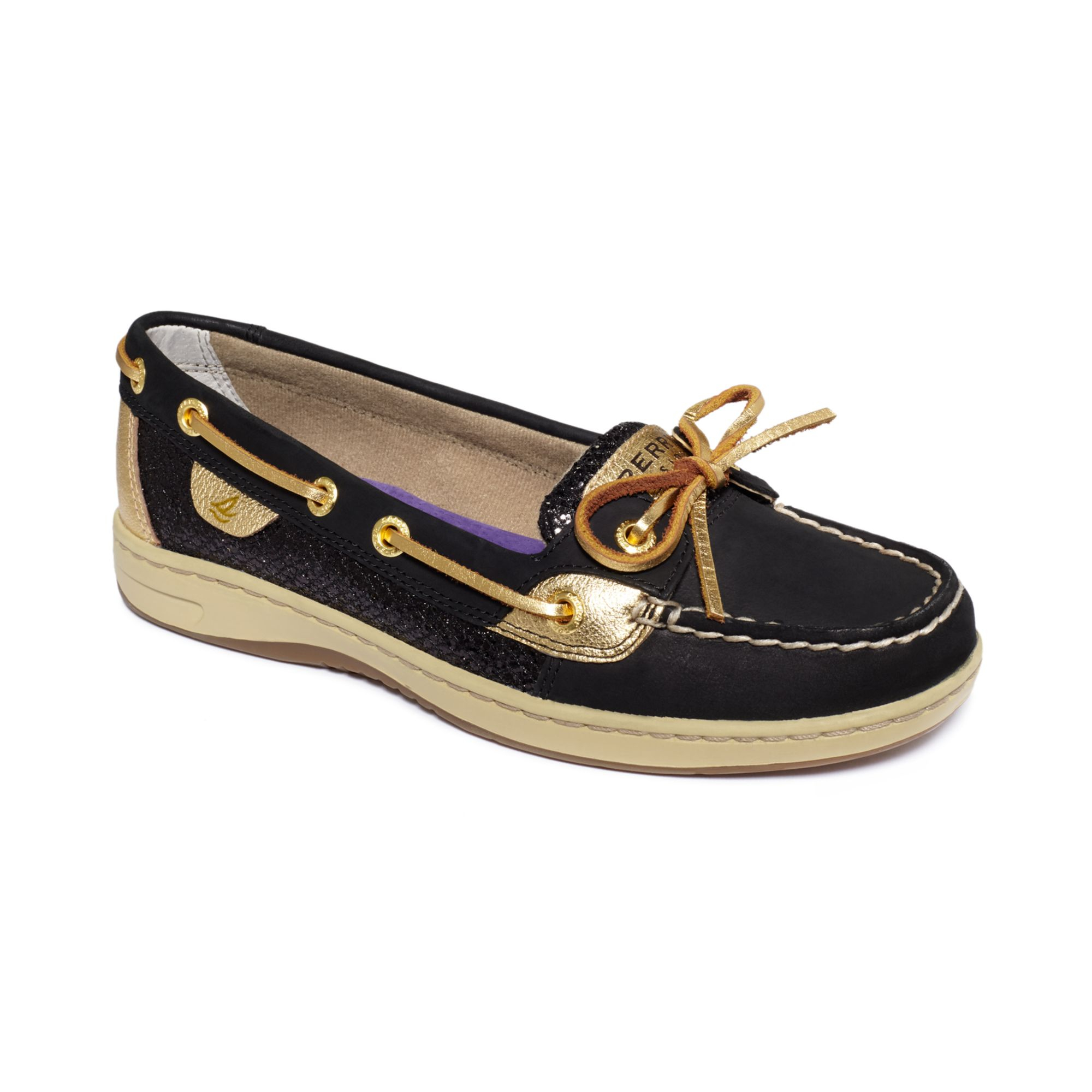 Black Glitter Sperry Boat Shoes