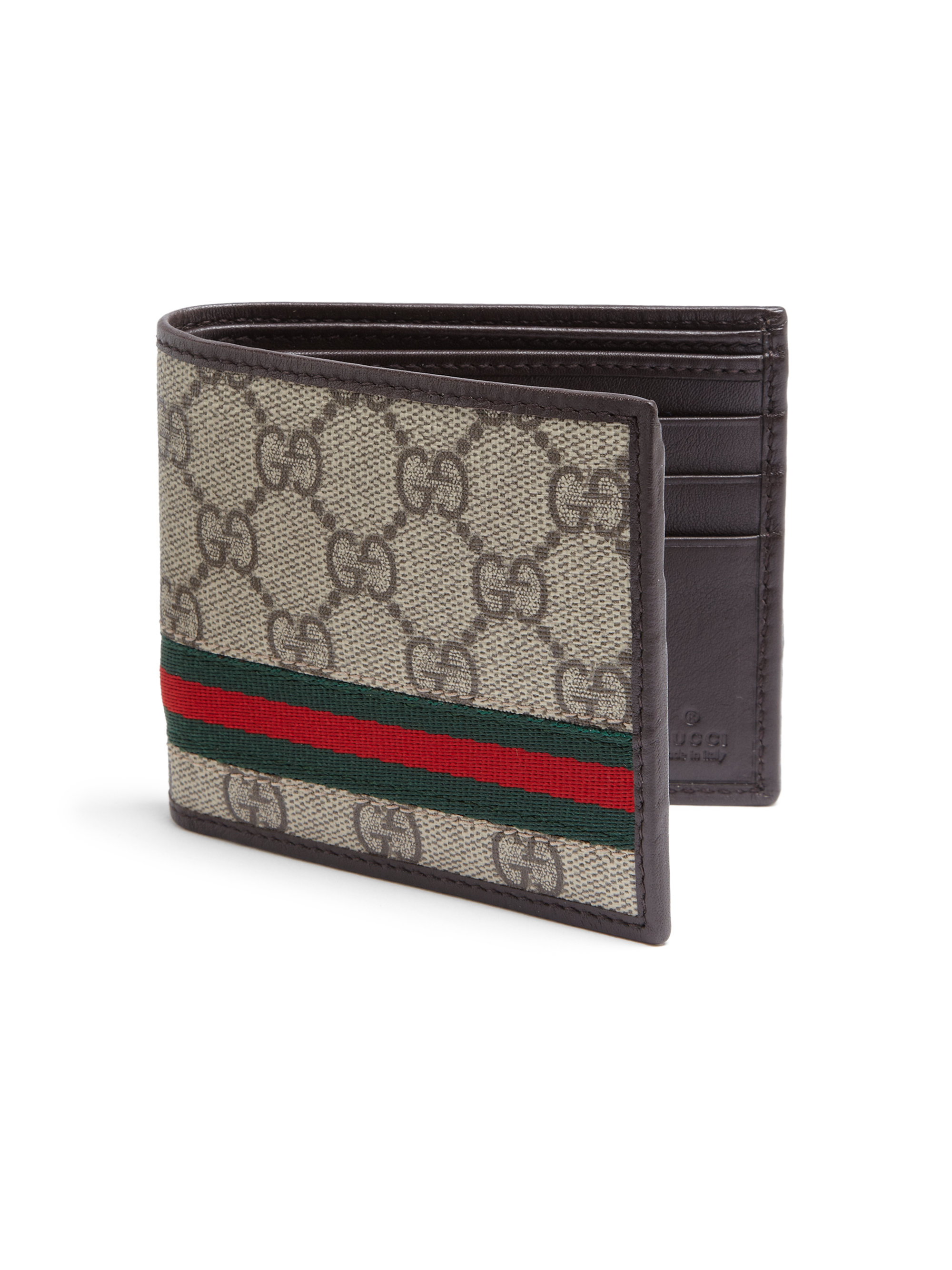 Lyst Gucci Gg Supreme Canvas Bi Fold Wallet In Brown For Men