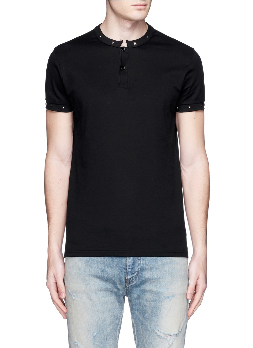 657a84f4e1 Saint Laurent Stud Stand Collar Polo Shirt in Black for Men - Lyst