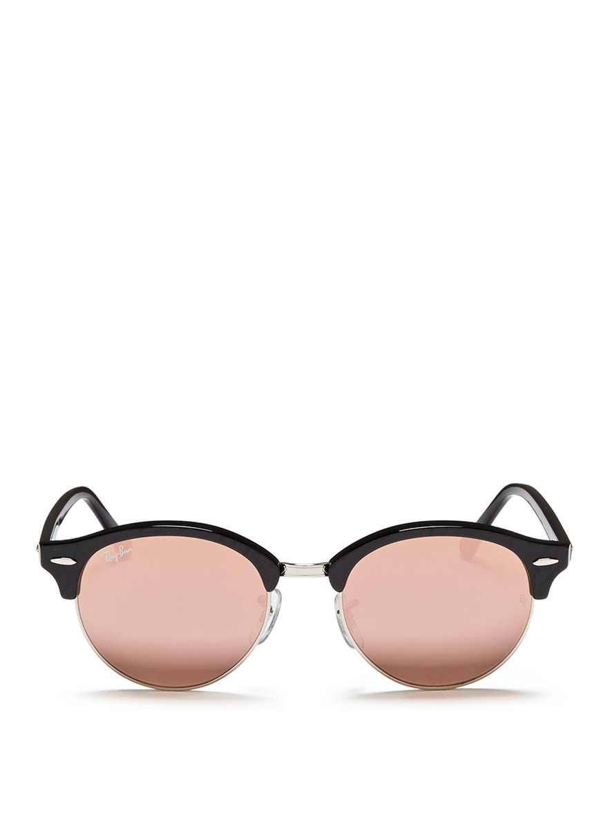 Lyst Ray Ban Clubround Acetate Browline Metal Mirror