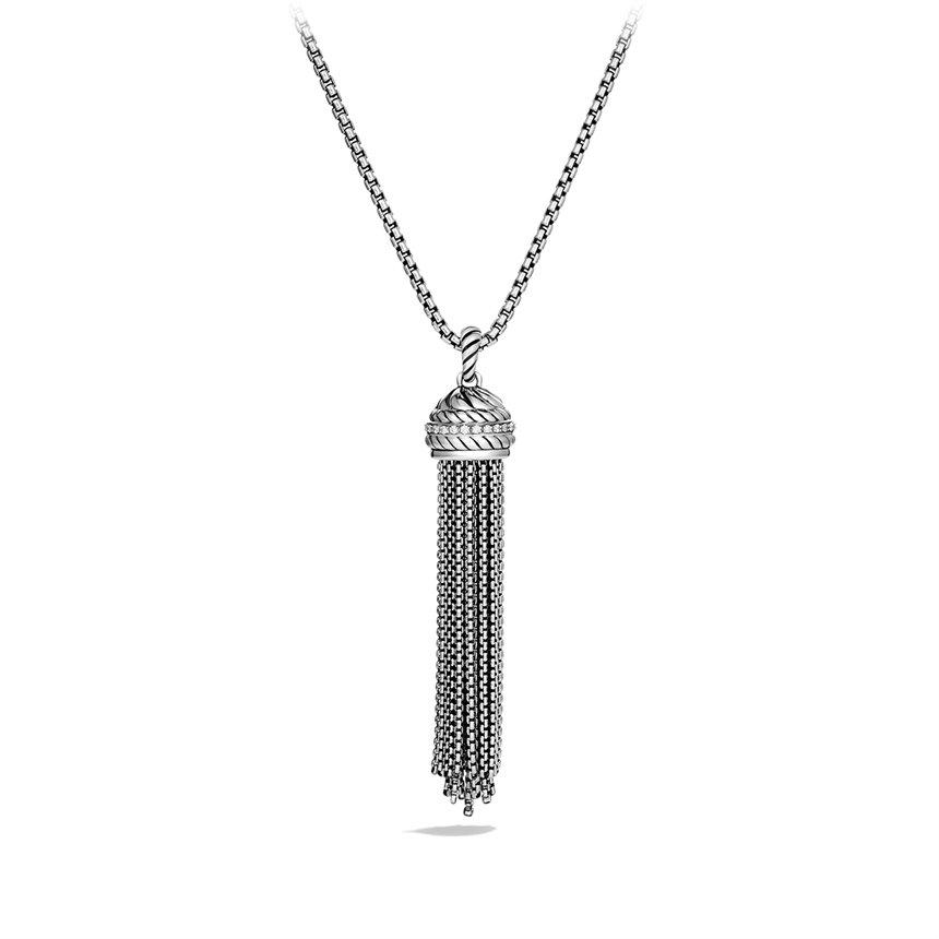 david yurman chain tassel pendant with diamonds in