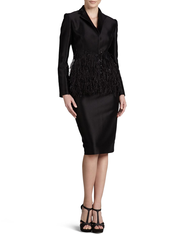 carolina herrera twill blazer pencil skirt in black lyst