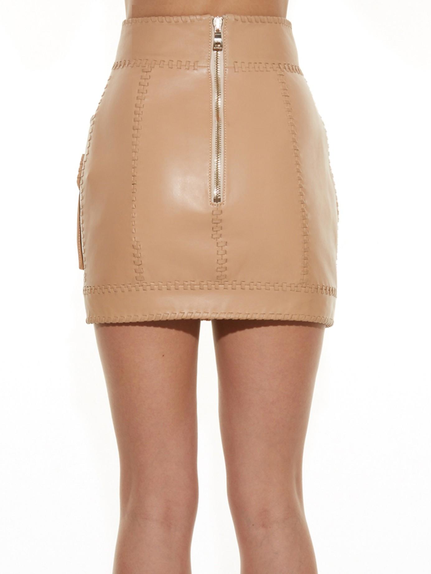 Balmain Cargo-pocket Leather Mini Skirt in Brown | Lyst