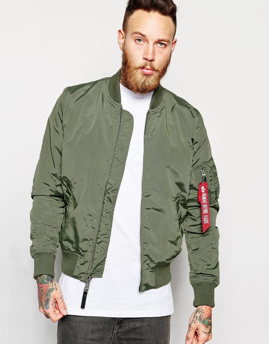 alpha industries ma 1 bomber jacket slim fit in green for. Black Bedroom Furniture Sets. Home Design Ideas