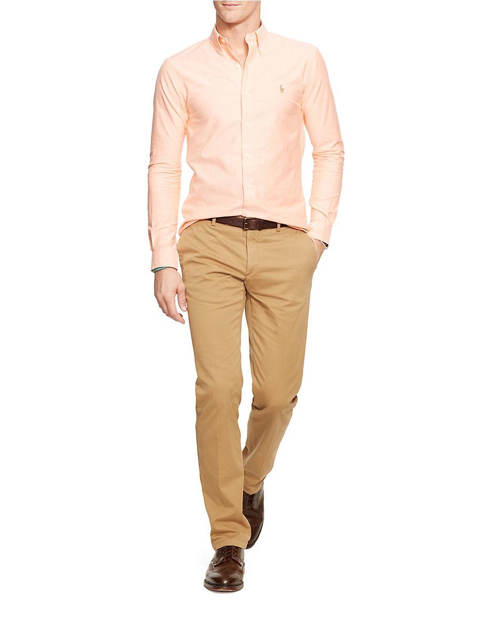 polo ralph lauren slim fit stretch oxford shirt in orange. Black Bedroom Furniture Sets. Home Design Ideas