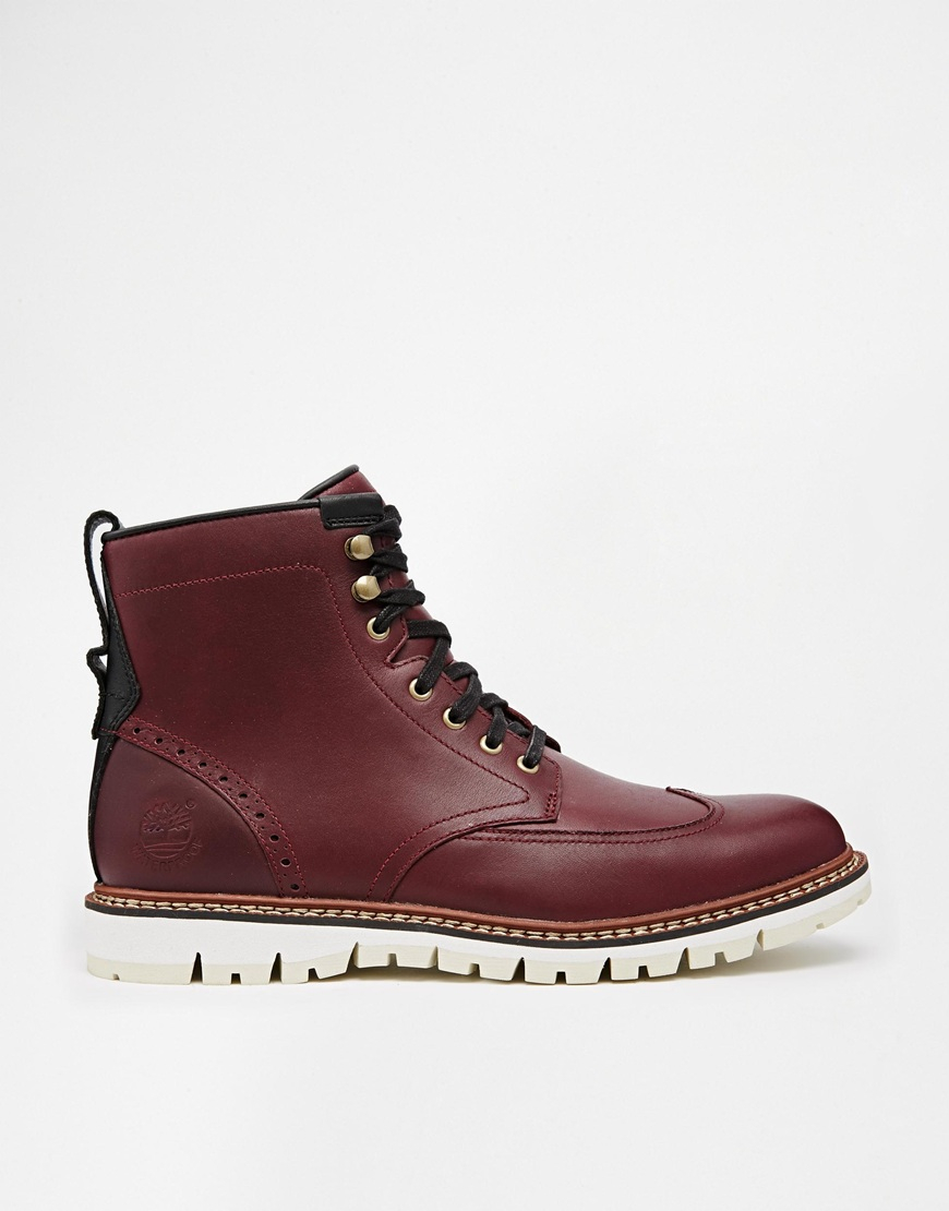Lyst - Timberland Earthkeepers Wing Tip Boots in Red for Men