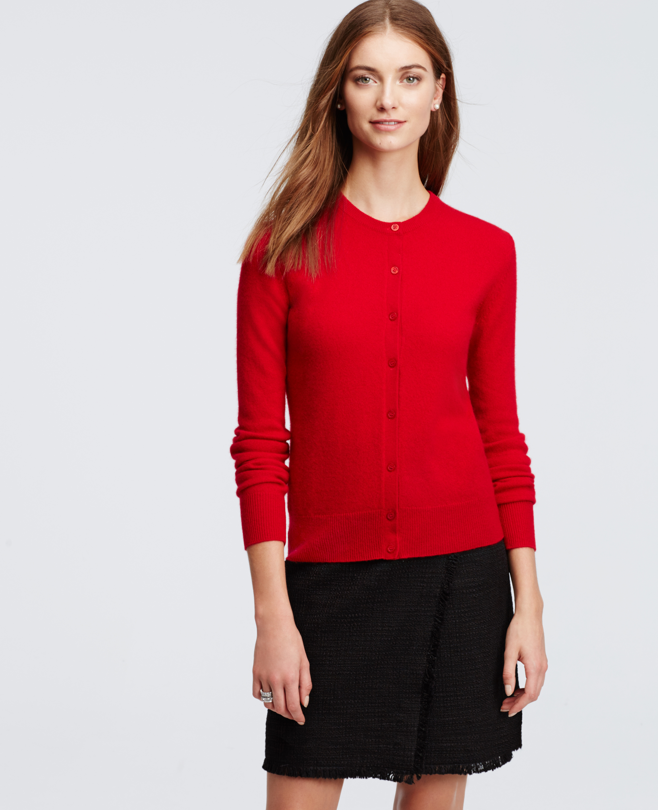 Ann taylor Cashmere Crew Neck Cardigan in Red | Lyst