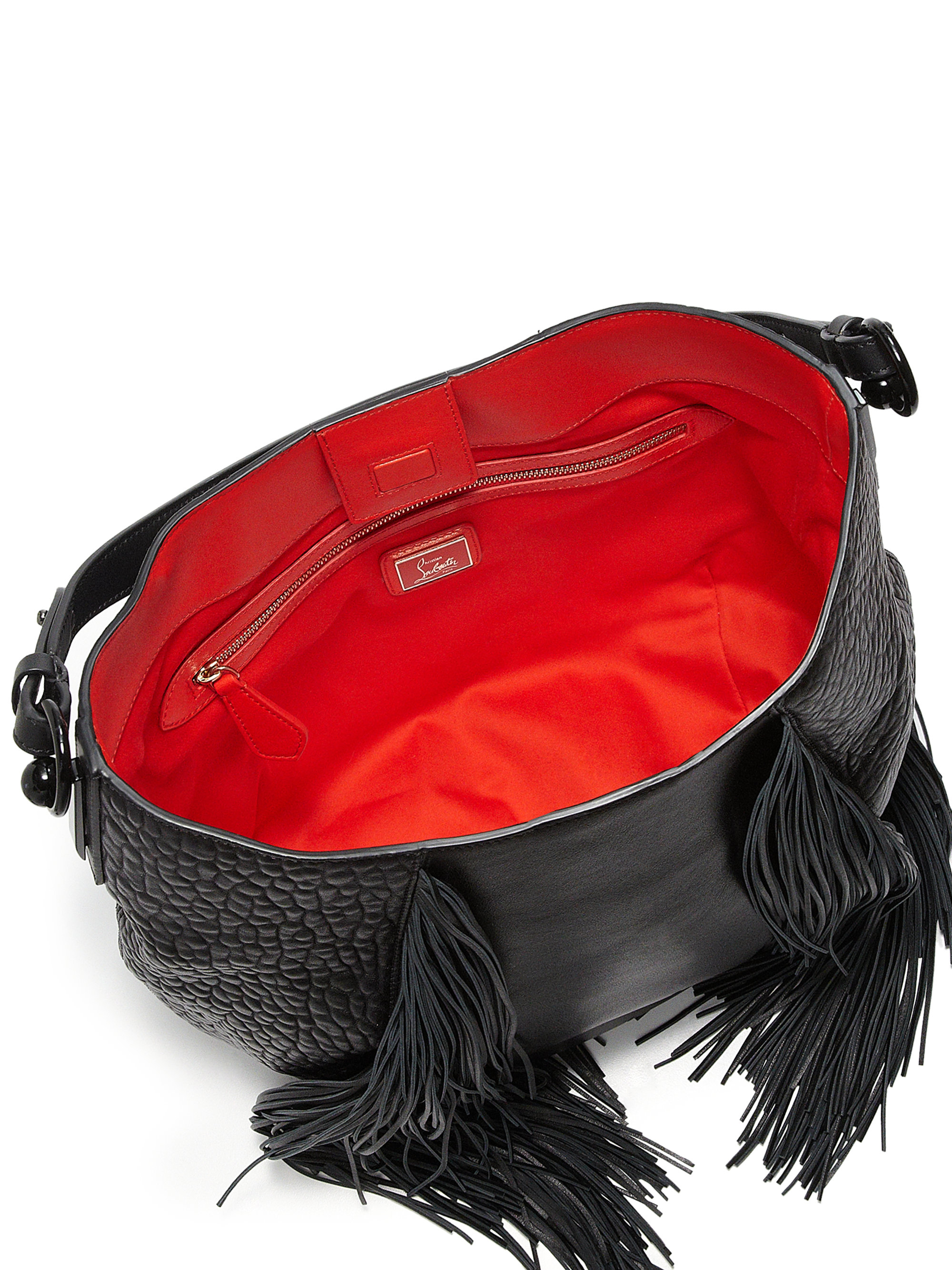 b87a76f68ff Christian Louboutin Black Lucky L Fringed Pebbled Leather Hobo Bag