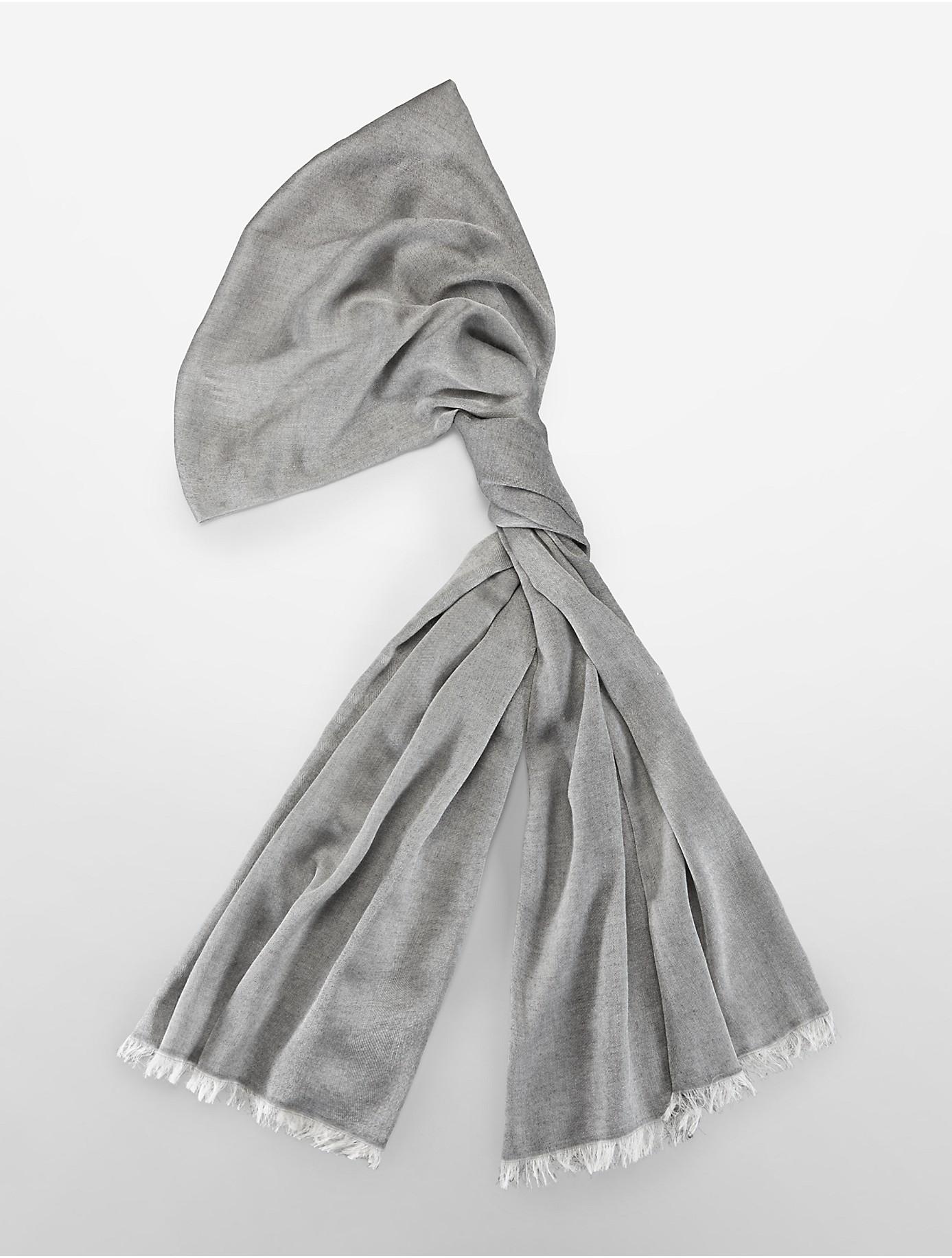calvin klein lightweight textured weave scarf in gray lyst