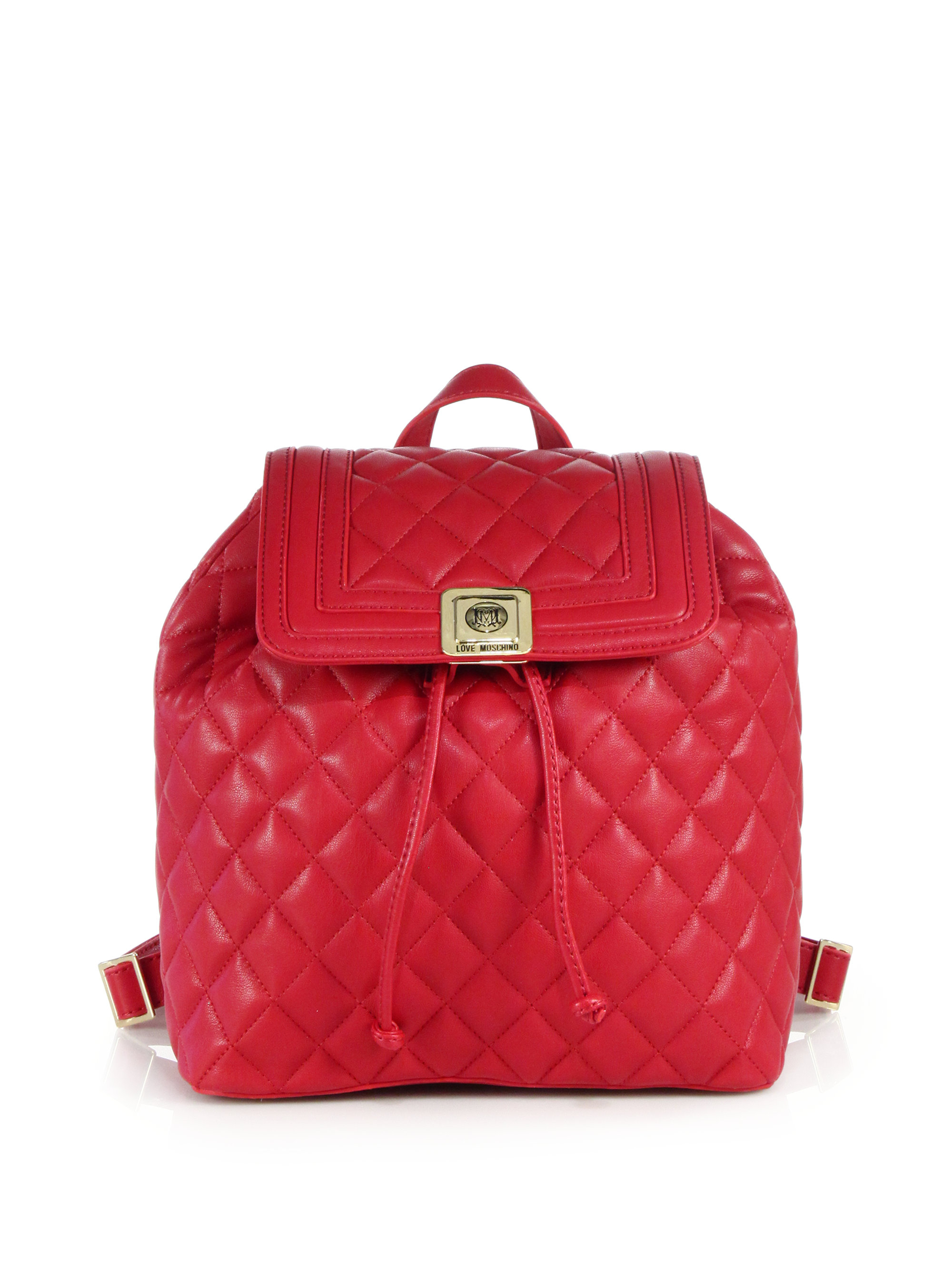 Lyst - Love moschino Superquilted Fold-over in Red : quilted faux leather backpack - Adamdwight.com
