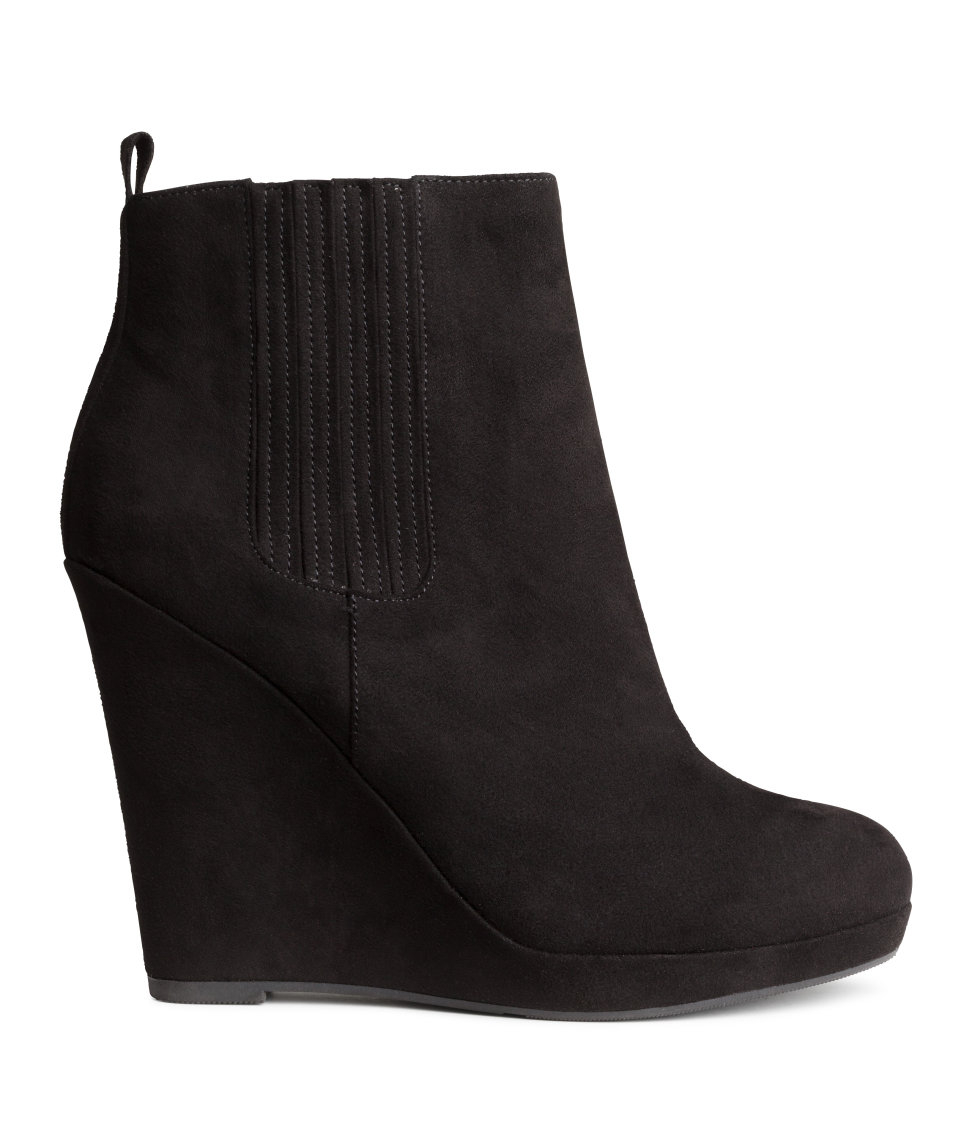 h m wedge boots in black lyst