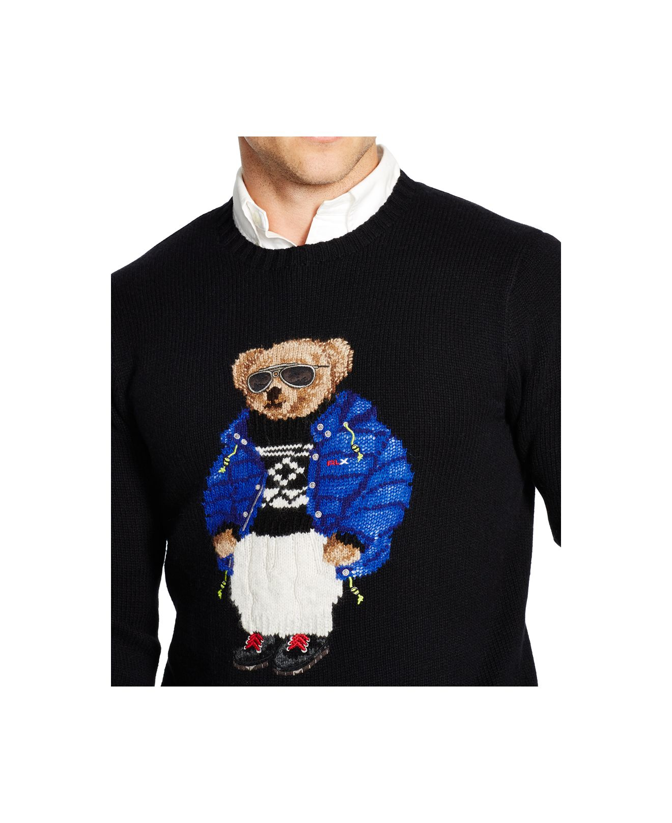 Blend Sweater Polo Black Bear Wool Men For Ralph Lauren LMqVSjGpUz