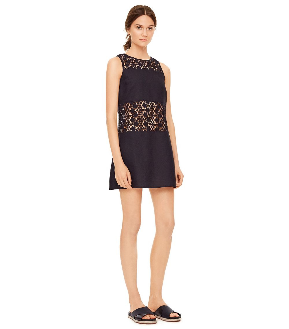 Lyst tory burch linen crochet a line dress in black for Tory burch fashion island