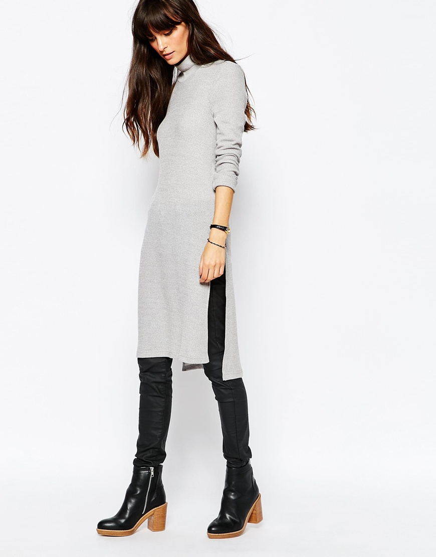 Vero moda High Neck Side Split Tunic Top in Gray | Lyst