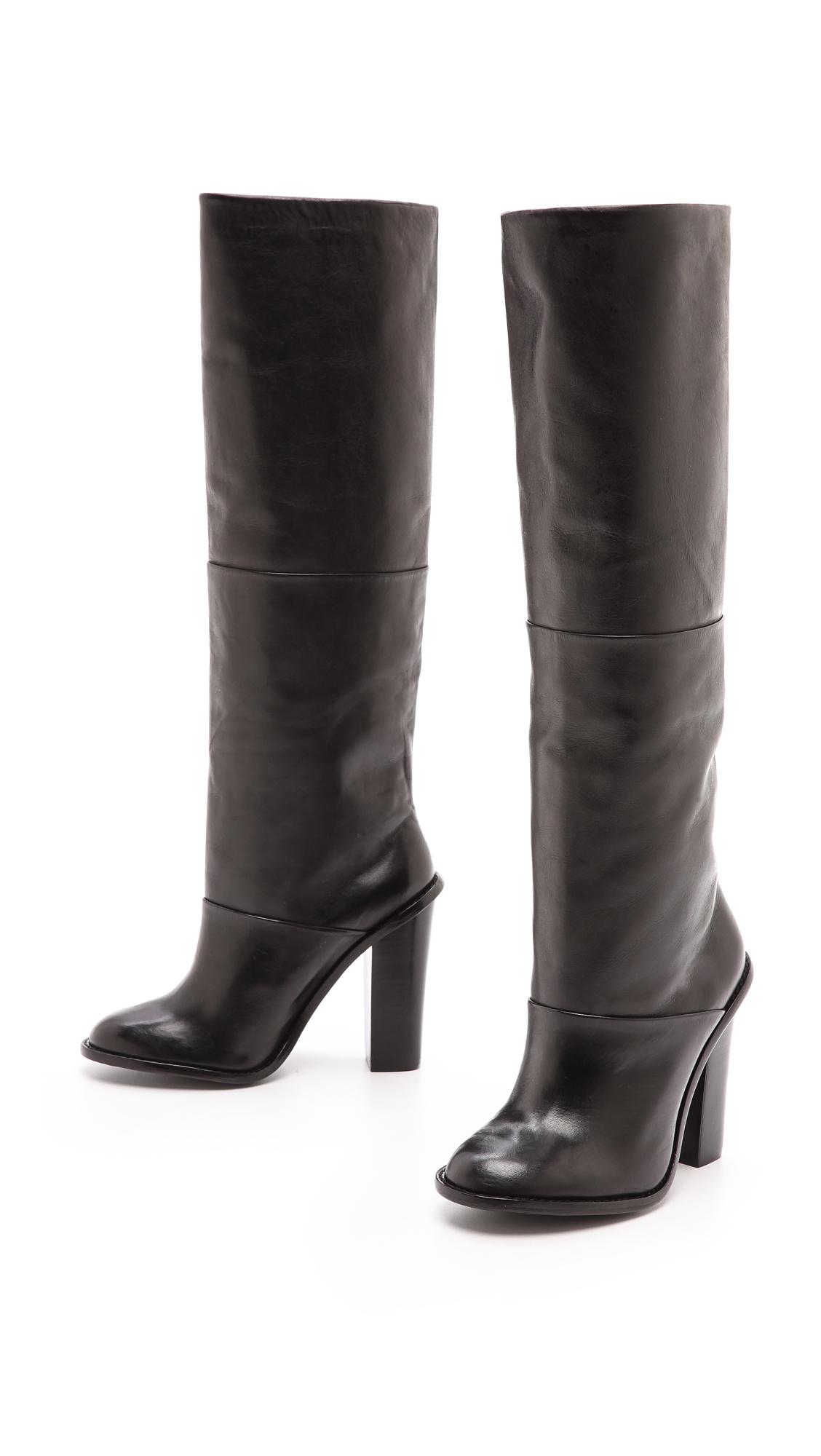 Tibi Vlada Tall Knee Boots Black