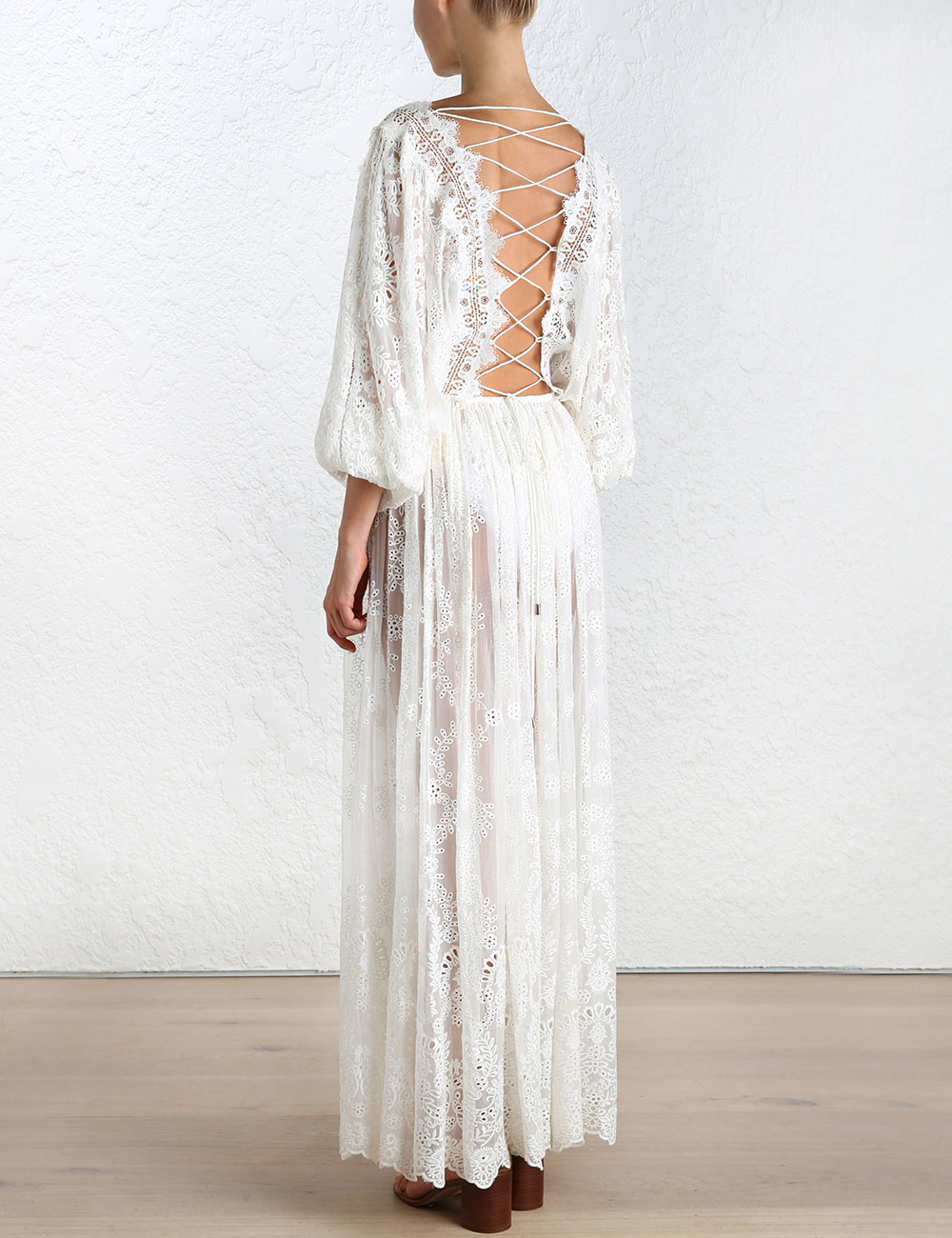 Lyst zimmermann alchemy embroidery long dress in white
