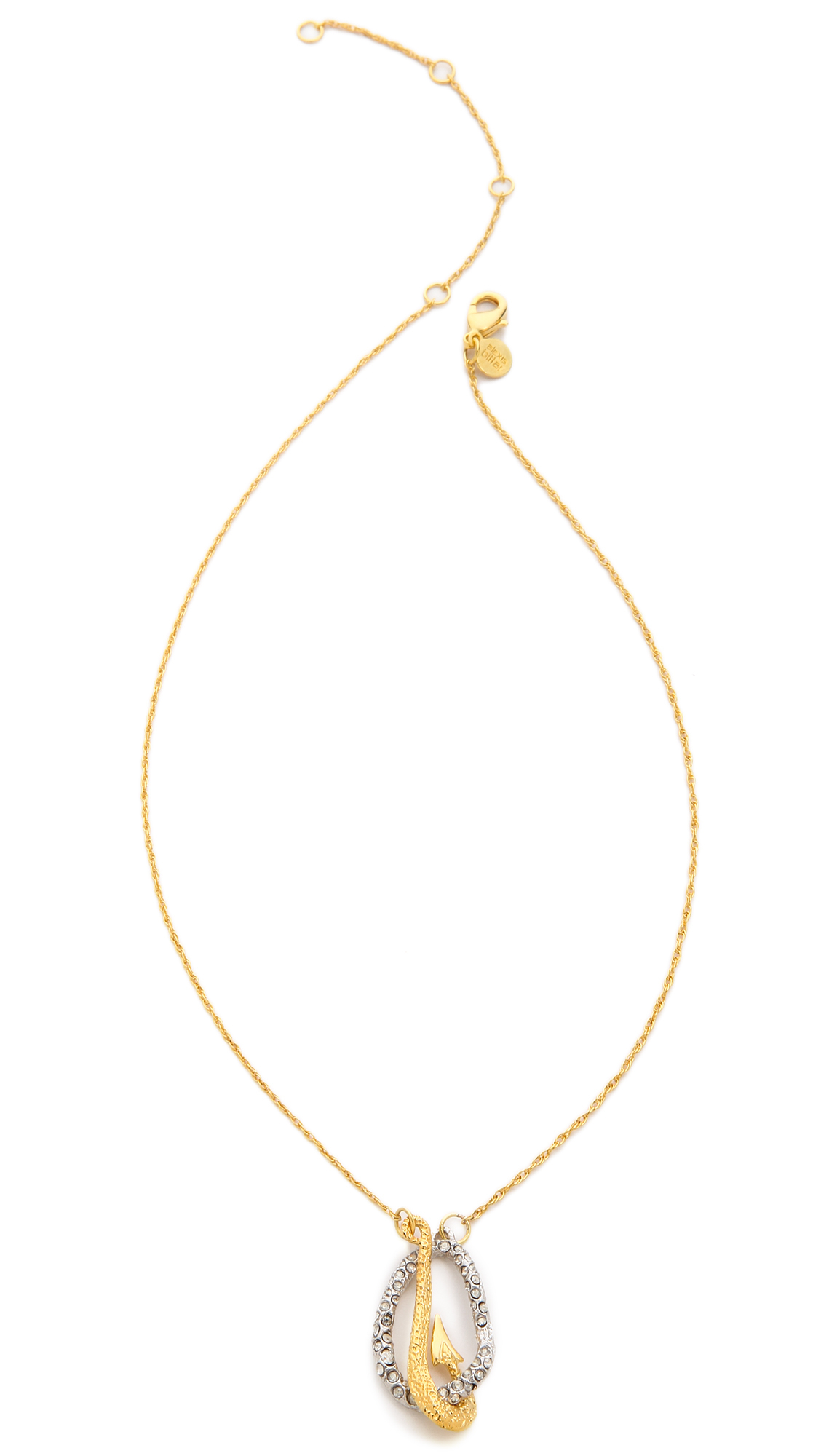 Lyst alexis bittar crystal encrusted fish hook necklace for Gold fish hook pendant