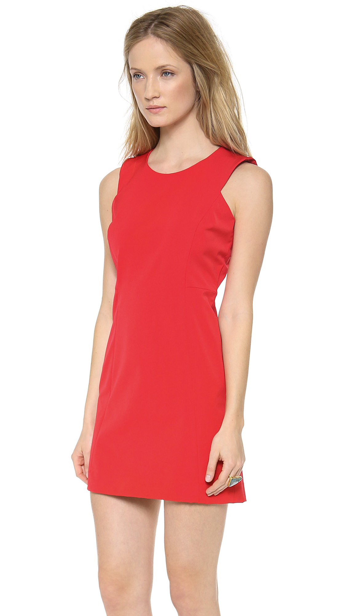 Milly Sleeveless Shift Dress Tomato In Red Lyst