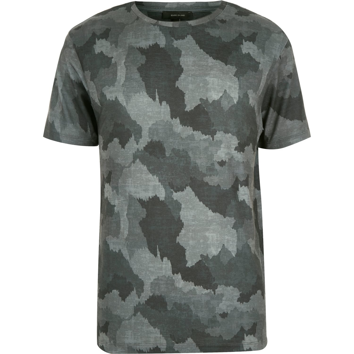 River island grey scratchy camo print t shirt in gray for for Camouflage t shirt printing