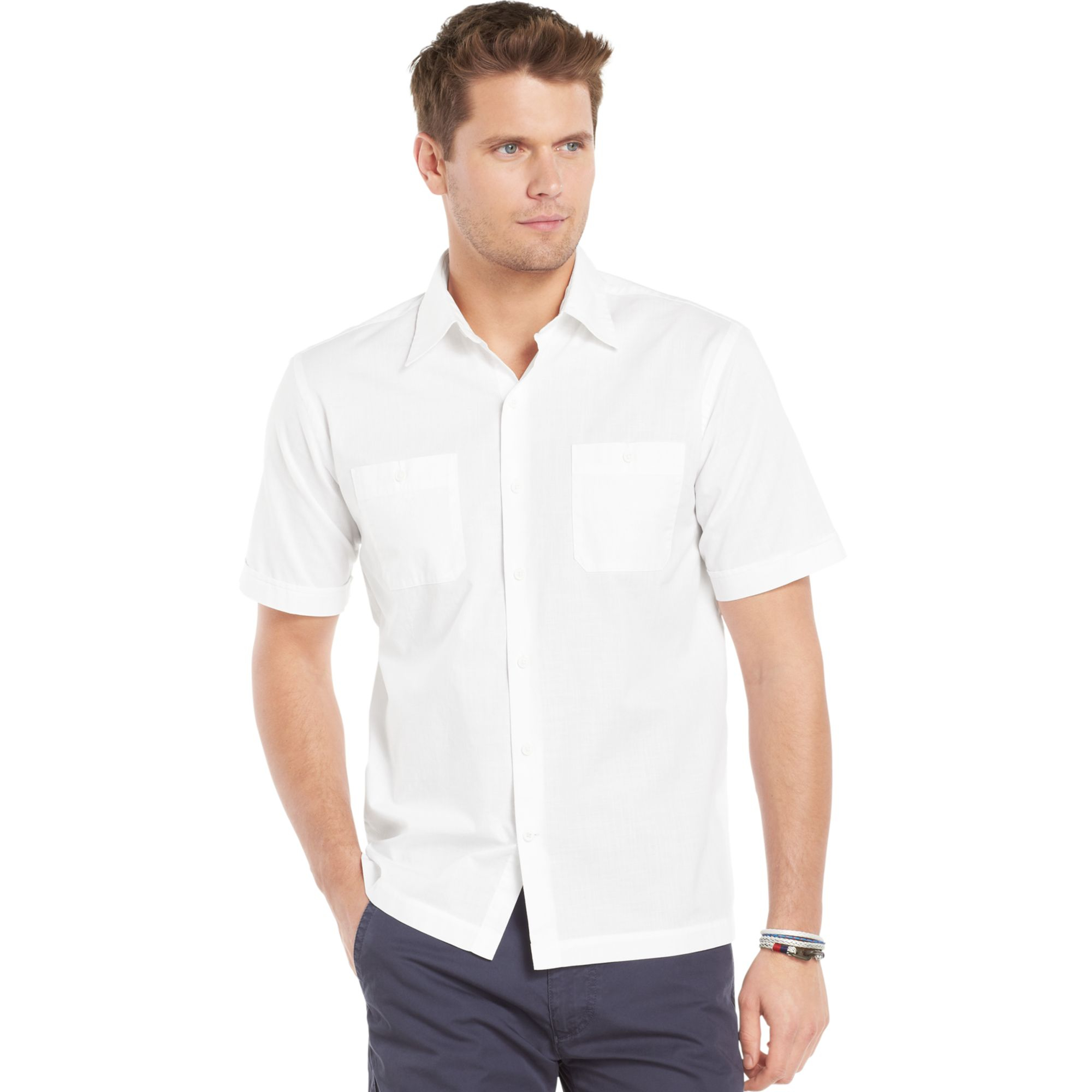 Izod big and tall chambray shirt in white for men lyst for Dress shirts for tall men