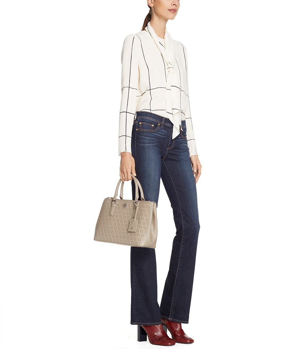 915be1cb138 Tory Burch Robinson Floral Perforated Mini Double-zip Tote in Gray ...