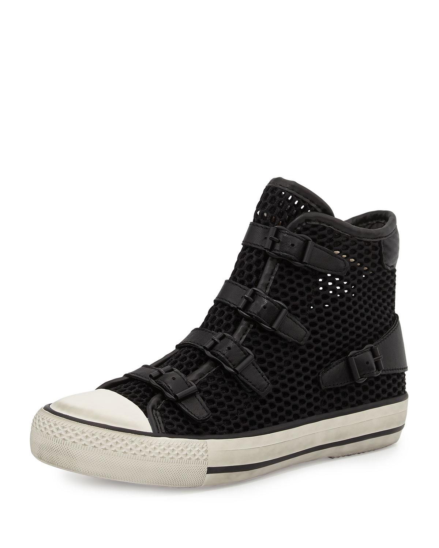 ash vanessa mesh high top sneaker in black lyst. Black Bedroom Furniture Sets. Home Design Ideas