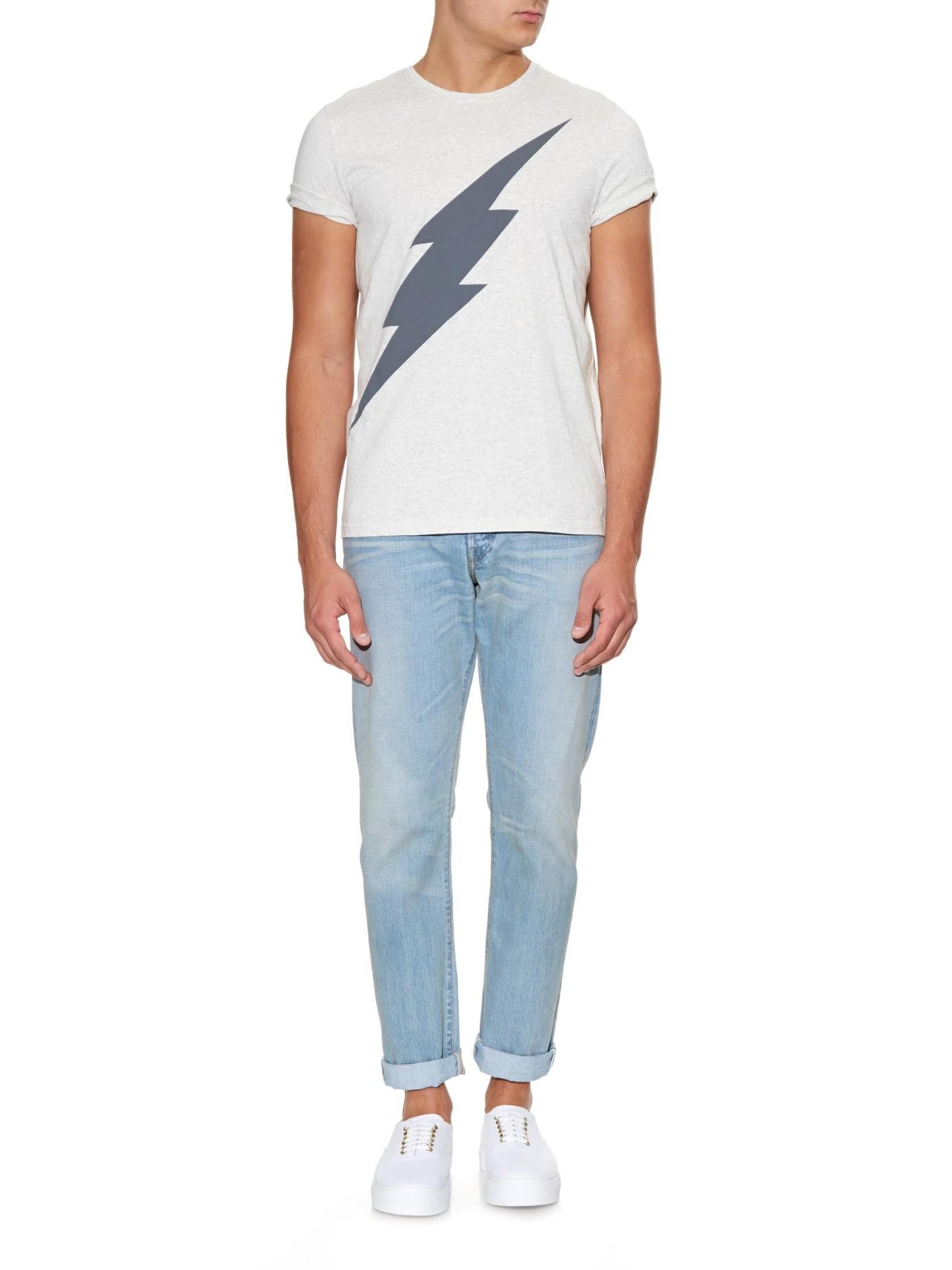 oliver spencer lightening print jersey t shirt in white. Black Bedroom Furniture Sets. Home Design Ideas