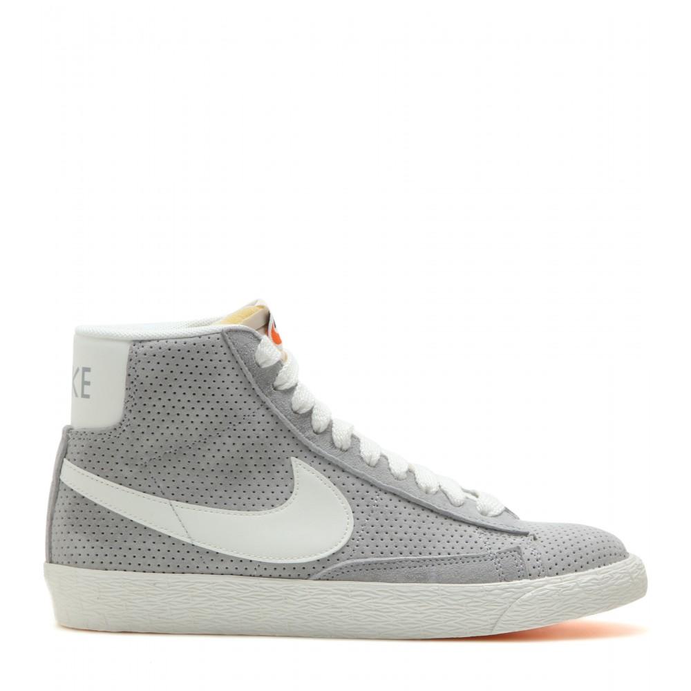 Suede In Mid Top Gray Sneakers Blazer Nike Lyst I29eYWEDH