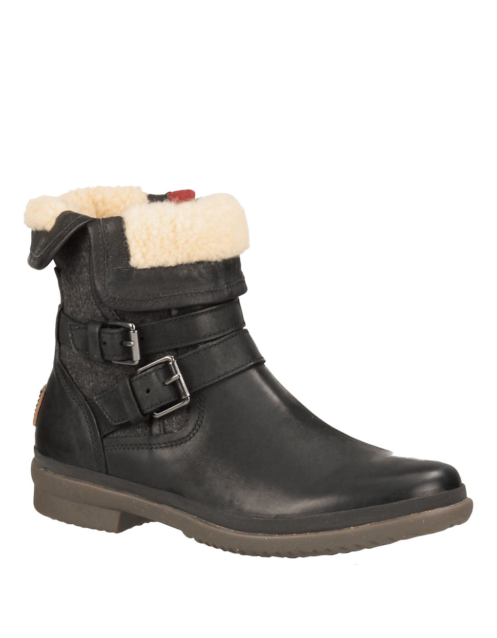 ugg simmens waterproof leather ankle boots in black lyst
