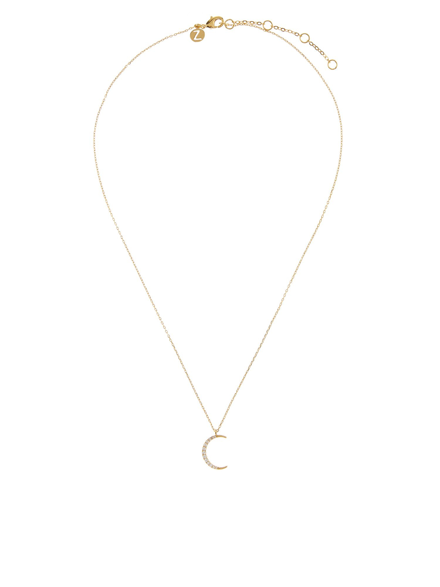 accessorize crescent moon pendant necklace in metallic lyst