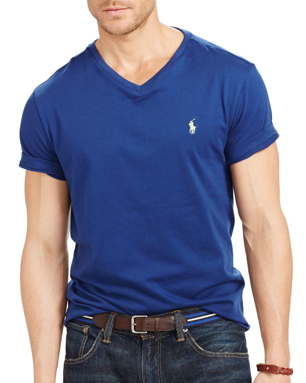 ralph lauren polo jersey v neck tee in blue for men deep ocean lyst. Black Bedroom Furniture Sets. Home Design Ideas
