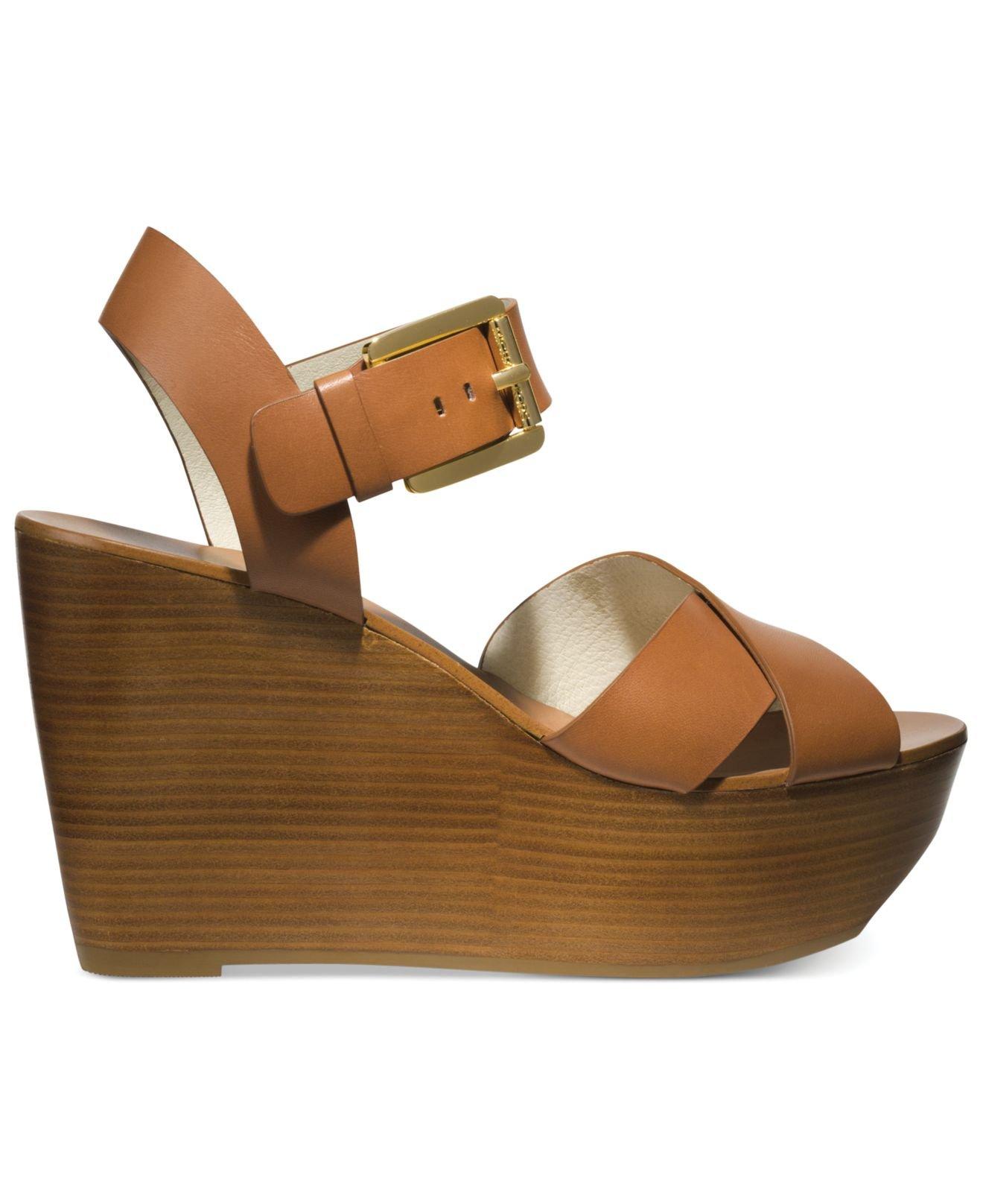 6d91b0f9dfc9 Lyst - Michael Kors Michael Peggy Platform Wedge Sandals in Brown