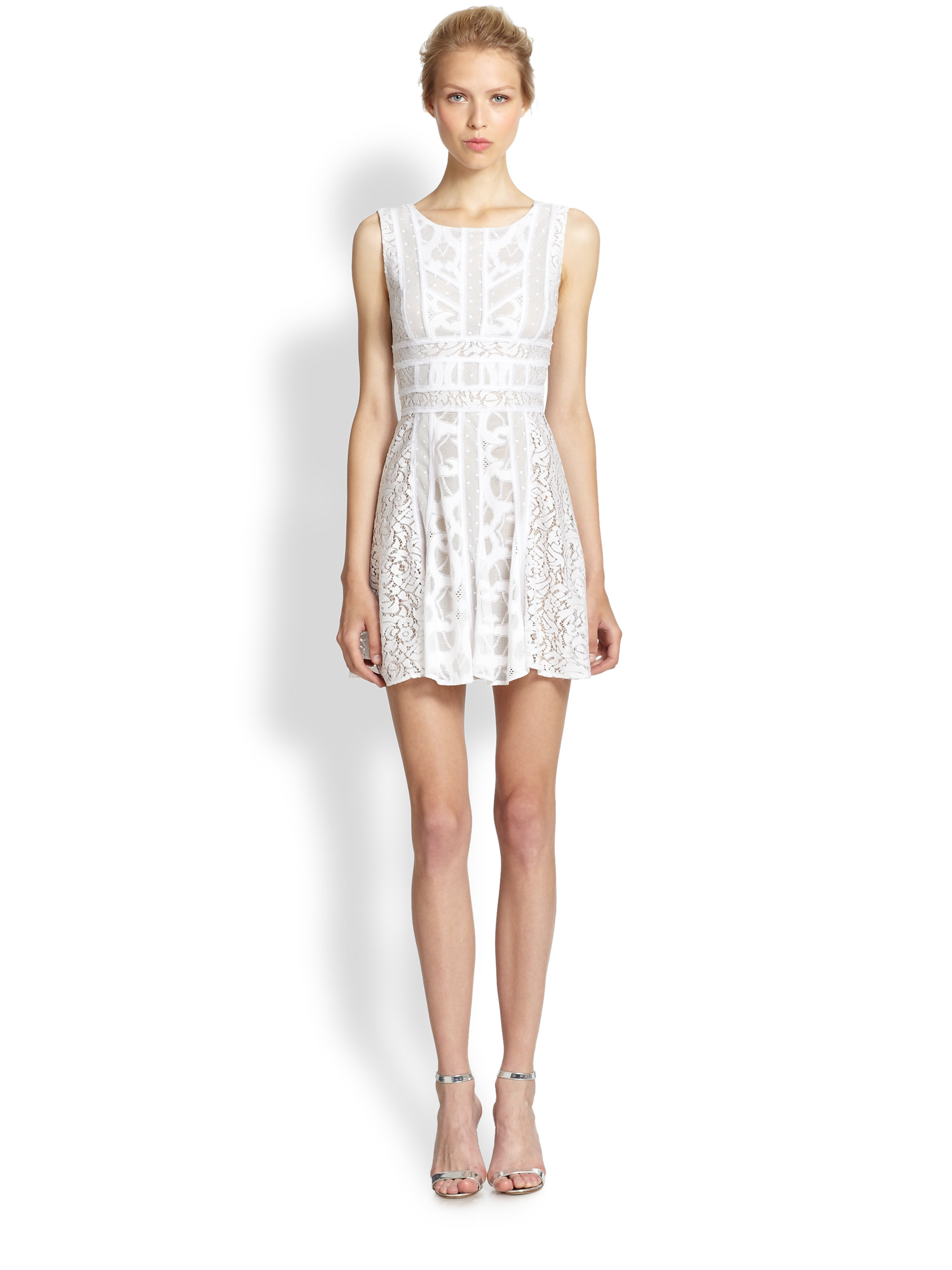 Lyst - BCBGMAXAZRIA Lace Fit   Flare Dress in White 1f29a1a06