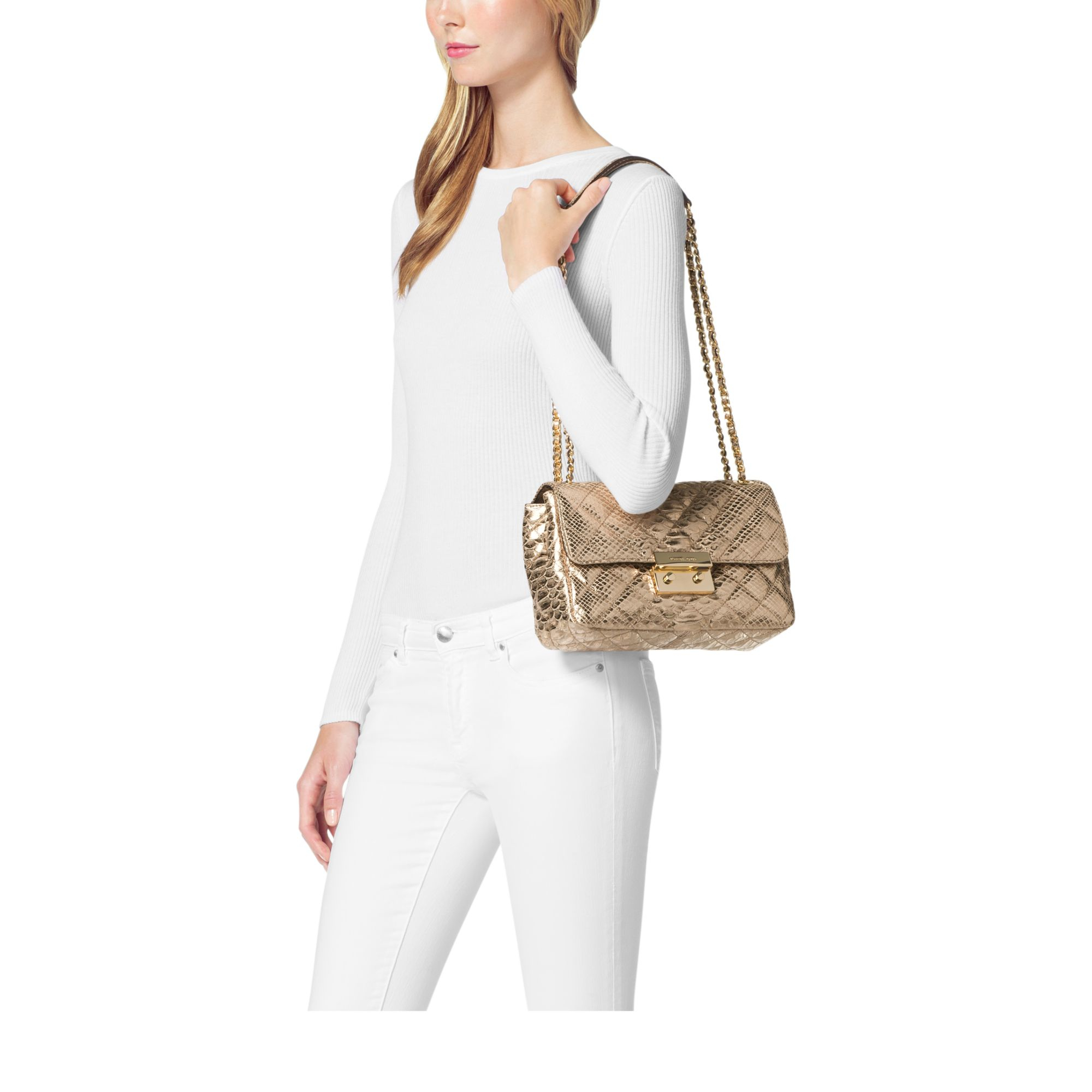 044f07a1b2937 Lyst - Michael Kors Sloan Large Metallic Embossed-leather Shoulder ...