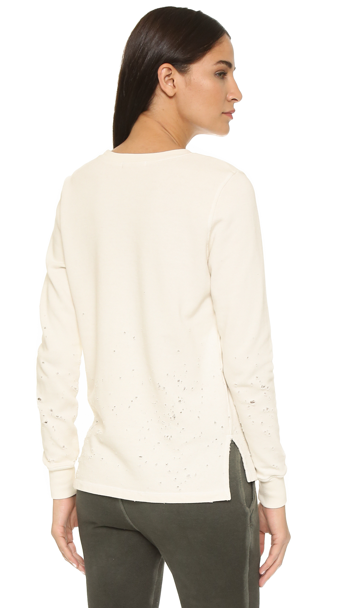 Cotton citizen The Malibu Crew Sweatshirt  Distressed Bone in