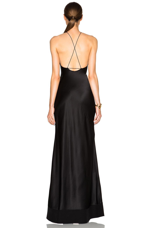 Calvin Klein Fawn Satin Silk Charmeuse Gown In Black Lyst